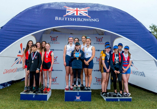 WJ14 4x+ bronze medallists
