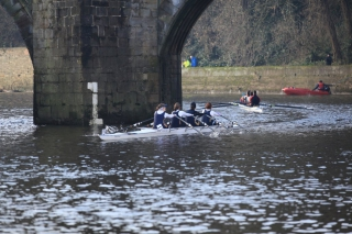 Racing upstream through Elvet Bridge