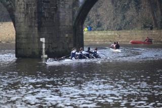 Racing upstream through Elvet Bridge