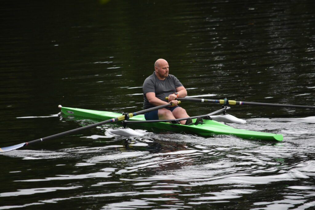 Adam trying out a Glide One single scull